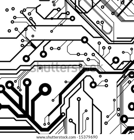 Seamless Printed Circuit Board Pattern - stock vector