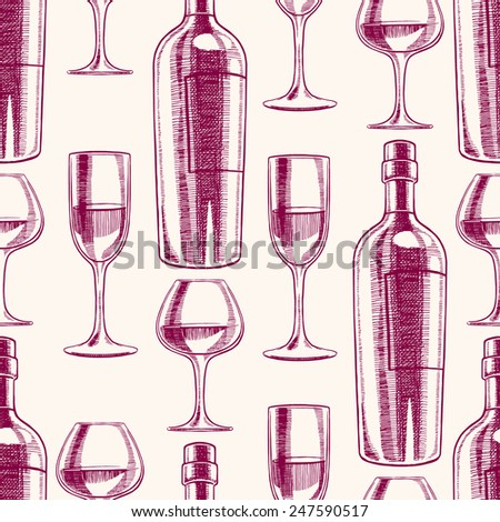 seamless purple background with bottles and glasses of wine. hand-drawn illustration - stock vector