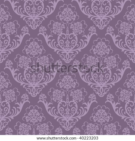 Seamless purple floral wallpaper - stock vector