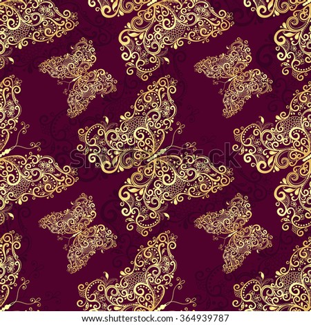 Seamless purple pattern with gold vintage butterflies, vector - stock vector