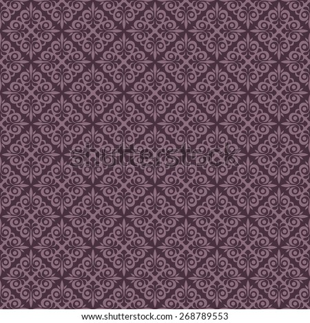 Seamless purple vintage vector wallpaper pattern. - stock vector