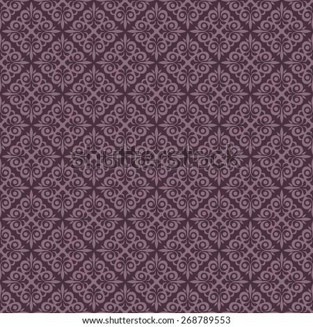 Seamless purple vintage vector wallpaper pattern. - stock vector