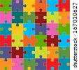 Seamless puzzle texture for any design. Vector Illustration - stock vector