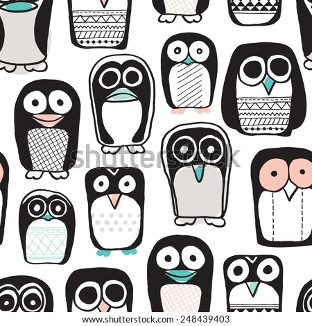 Seamless quirky kids penguin and owl illustration retro style black and white with pastel color pops background pattern in vector - stock vector