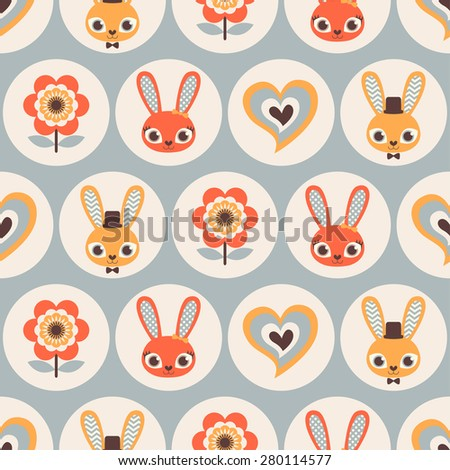 seamless rabbits cartoon pattern - stock vector