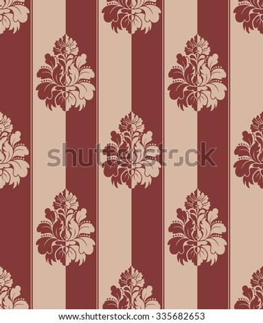 Seamless red and beige damask vintage pattern. Striped - stock vector