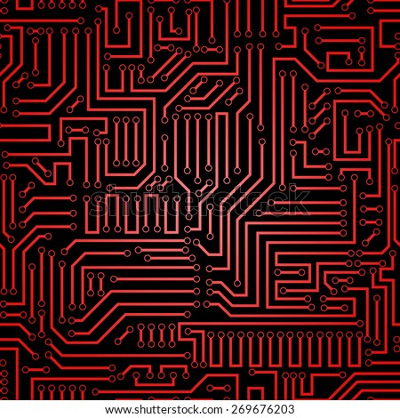 Seamless red and black electronic plate pattern vector. Circuit board vector illustration. Futuristic background. Electrical scheme. Technology seamless background with pattern in swatches - stock vector