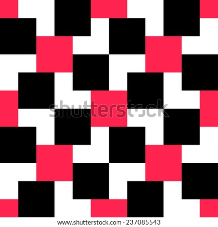 Seamless Red and Black Square Pattern. Vector Background - stock vector
