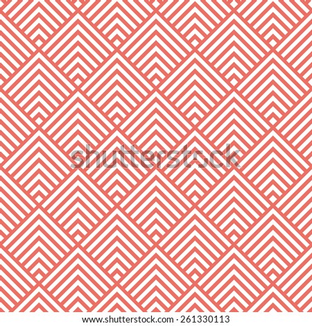 Seamless red art deco square chevrons pattern vector - stock vector