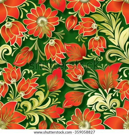 seamless red floral ornament on green background - stock vector