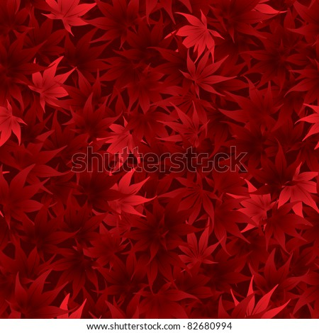 Seamless red maple leaves pattern - stock vector