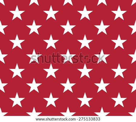 Seamless red pattern with five pointed stars - stock vector