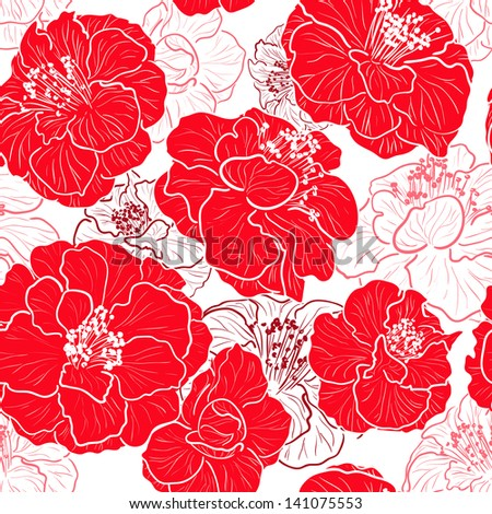 Seamless red pattern with floral background - stock vector