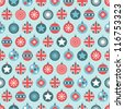 seamless red, white and blue union jack christmas bauble pattern - stock vector