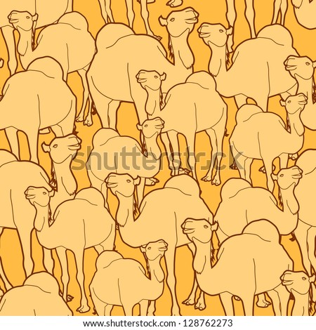 Seamless repeat pattern of a herd of camels. AI10 EPS background - stock vector