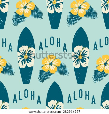 Seamless repeat pattern with blue surf boards and yellow hibiscus flowers on a light blue background. - stock vector