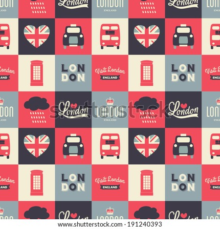 Seamless repeat pattern with London symbols in white, red and blue. - stock vector
