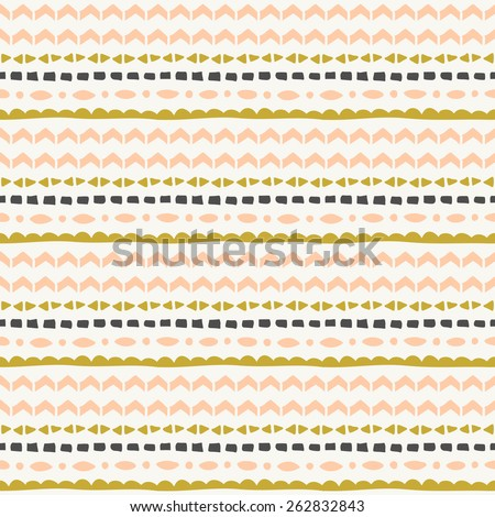 Seamless repeat tribal pattern in pink, green and gray. - stock vector