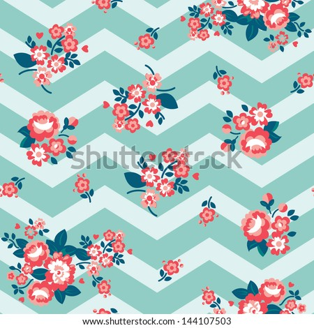 Seamless Repeating Background - Chevron Roses - stock vector