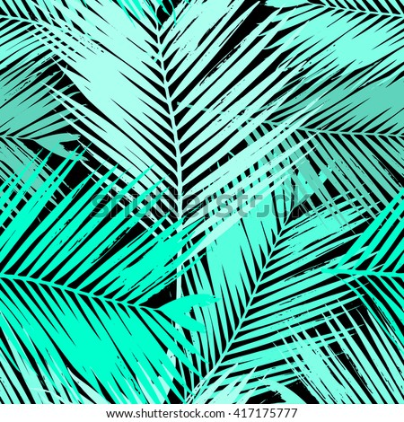 Seamless repeating pattern with silhouettes of palm tree leaves in blue and green. - stock vector