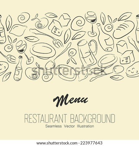 Seamless Restaurant Background With Copyspace. Vector - stock vector