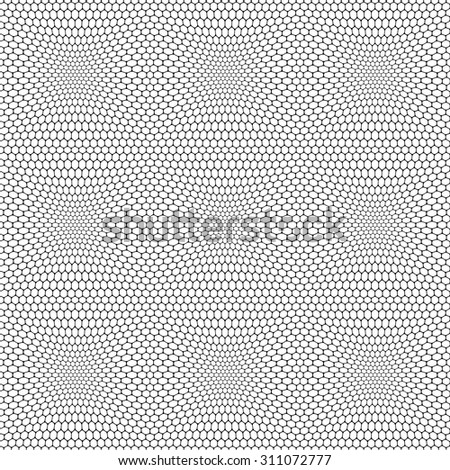 Seamless reticulate pattern with hexagonal cells. Vector art. - stock vector