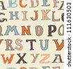 seamless retro alphabet - stock vector
