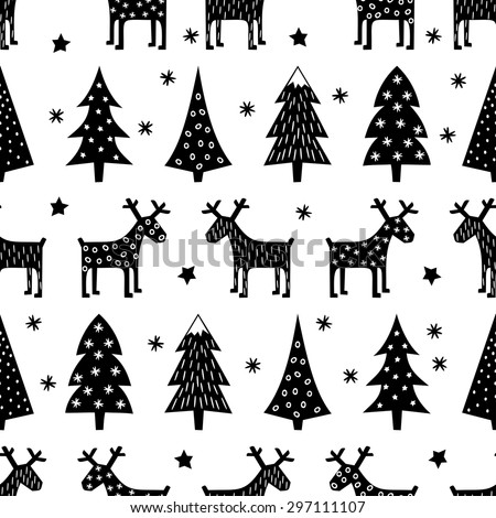 Seamless retro Christmas pattern - varied Xmas trees, reindeer, stars and snowflakes. Black and white Happy New Year background. Vector design for winter holidays. - stock vector