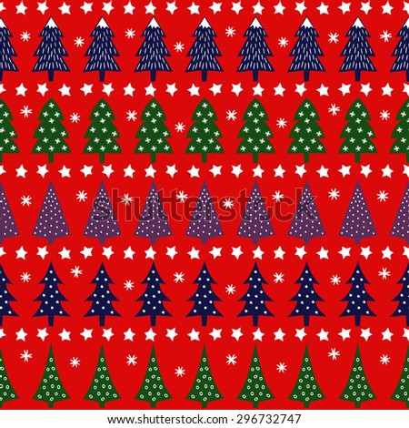 Seamless retro Christmas pattern - varied Xmas trees, stars and snowflakes. Bright Happy New Year background. Vector design for winter holidays. Child drawing style trees. - stock vector