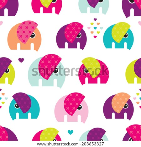Seamless retro colorful elephant baby girl pattern wallpaper background in vector - stock vector