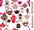 Seamless retro design tea pot china pattern background in vector - stock vector