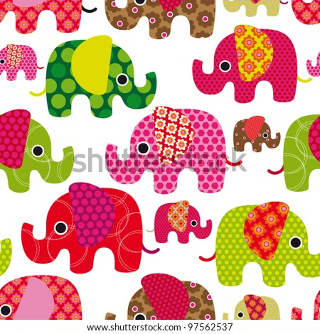 Seamless retro elephant kids pattern wallpaper background in vector - stock vector