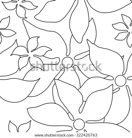 Seamless retro floral pattern. 1960s textile design collection. Black and white. Backgrounds & textures shop. - stock vector