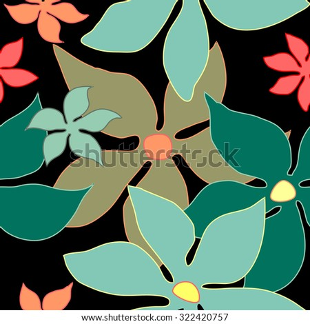 Seamless retro floral pattern. 1960s textile design collection. Grey, green, pink on black. Backgrounds & textures shop. - stock vector