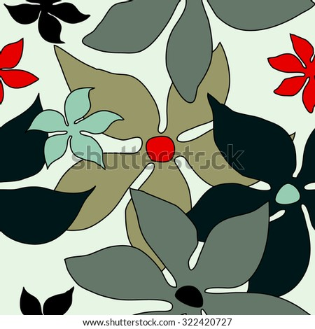 Seamless retro floral pattern. 1960s textile design collection. Grey, red on light grey. Backgrounds & textures shop. - stock vector
