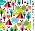 Seamless retro fox camping kids background pattern in vector - stock vector