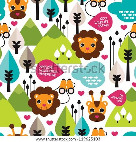 Seamless retro kids safari lion wildlife background pattern in vector - stock vector
