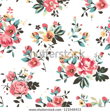 seamless retro leaves background vector pattern - stock vector