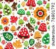 Seamless retro mushroom autumn deer pattern illustration in vector - stock vector