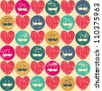 Seamless retro pattern. Texture with threadbare hearts and funny faces. - stock vector