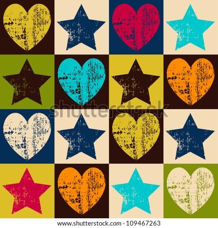 Seamless retro pattern. Texture with threadbare hearts and stars. Vector version. - stock vector