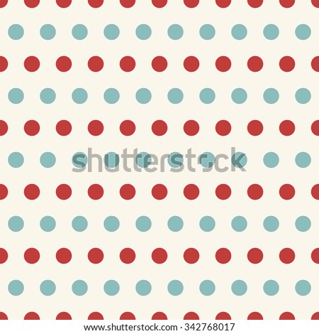 Seamless retro pattern with blue and red polka dots on white background  - stock vector