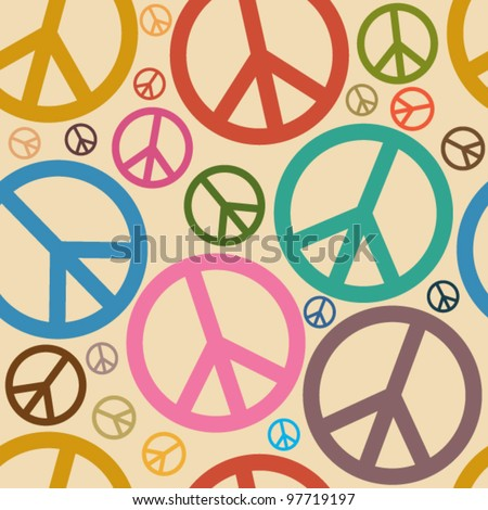 Seamless Retro Peace Symbol Background - stock vector
