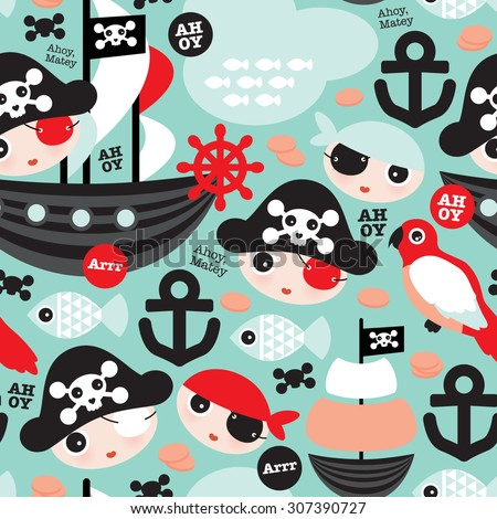 Seamless retro pirates illustration sailing the ocean mint and coral anchor background pattern in vector - stock vector