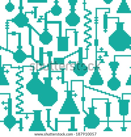 Seamless retro pixel game science lab pattern - stock vector