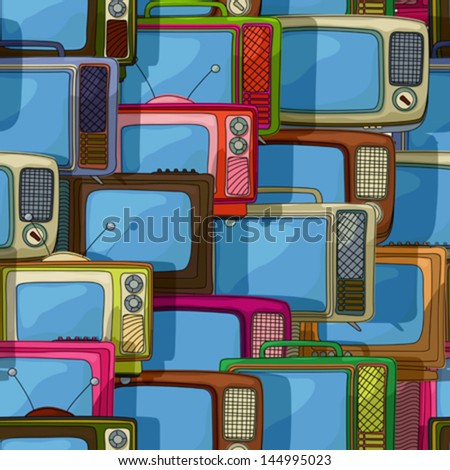 Seamless retro style pattern  with television sets,  vector cartoon - stock vector