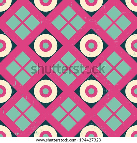 seamless retro style vector pattern (Grunge effect can be removed easily) - stock vector