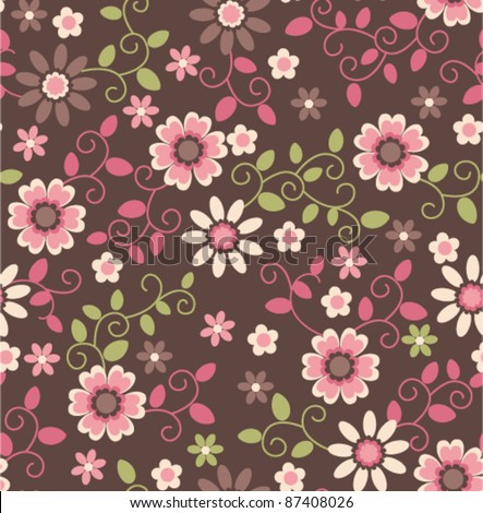 seamless retro vintage pink fflower pattern background - stock vector