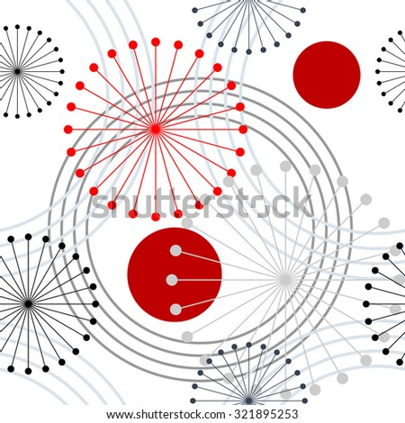 Seamless rings and dandelions retro pattern. 1960s style. Red, black, white. Backgrounds & textures shop. - stock vector