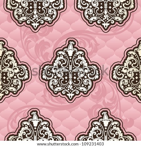 Seamless Rococo floral in pink (EPS10); - stock vector